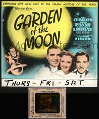5v029 GARDEN OF THE MOON glass slide '38 Pat O'Brien, John Payne, Margaret Lindsay, Jimmy Fidler