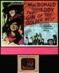5v030 GIRL OF THE GOLDEN WEST glass slide '38 Jeanette MacDonald & Nelson Eddy in cowboy hats!