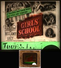 5v031 GIRLS' SCHOOL glass slide '38 if teachers only knew what Anne Shirley & friends are studying!