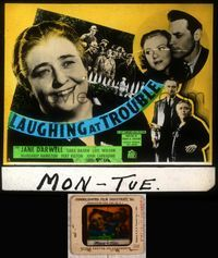 5v034 LAUGHING AT TROUBLE glass slide '36 newspaper publisher Jane Darwell tries to solve a murder!