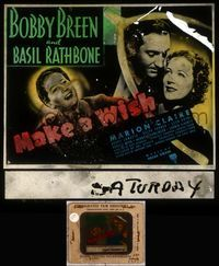 5v036 MAKE A WISH glass slide '37 Bobby Breen, Basil Rathbone & Marion Claire in wishbone!