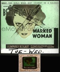 5v038 MARKED WOMAN glass slide '37 classic close up image of Bette Davis with X over her face!