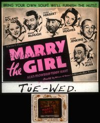 5v039 MARRY THE GIRL glass slide '37 Hugh Herbert, Mary Boland, Frank McHugh, Hughes, Auer, Jenkins