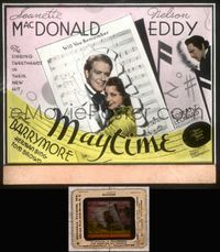 5v040 MAYTIME glass slide '37 close up of singing sweethearts Jeanette MacDonald & Nelson Eddy!