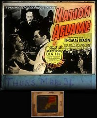 5v044 NATION AFLAME glass slide '37 a dynamic expose of a hooded menace by Thomas Dixon!