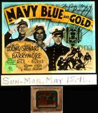 5v045 NAVY BLUE & GOLD glass slide '37 James Stewart & Robert Young are cadets at Annapolis!