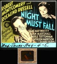 5v046 NIGHT MUST FALL glass slide '37 killer Robert Montgomery keeps his victim's head in a hatbox!