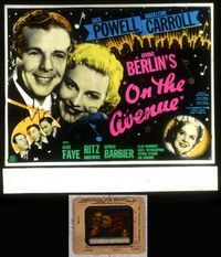 5v047 ON THE AVENUE glass slide '37 Alice Faye, Dick Powell, Ritz Brothers, Irving Berlin