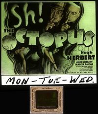 5v053 SH! THE OCTOPUS glass slide '37 art of Hugh Herbert & Allen Jenkins with sexy Marcia Ralston!