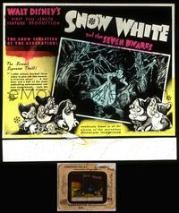 5v056 SNOW WHITE & THE SEVEN DWARFS glass slide '37 Walt Disney animated cartoon fantasy classic!