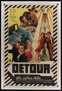 5z092 DETOUR linen 1sh '45 cool images of Tom Neal & Ann Savage, classic Edgar Ulmer film noir!