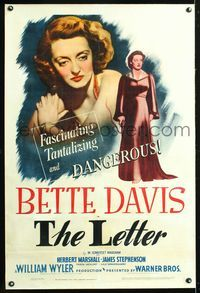 5z205 LETTER linen 1sh '40 fascinating & dangerous Bette Davis close up & full-length!