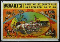 6a169 HOBART'S BIG UNITED CIRCUS ACTS linen circus poster circa 1906, art of chimps in chariot race!