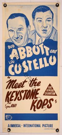 6d030 ABBOTT  COSTELLO STOCK Aust daybill R50s stone litho art of Bud  Lou Keystone Kops