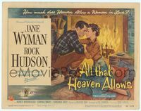 6f067 ALL THAT HEAVEN ALLOWS TC '55 close up romantic art of Rock Hudson & Jane Wyman by fireplace!