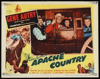 6f008 APACHE COUNTRY signed LC '52 by Gene Autry, who is smiling in a stagecoach with three others!