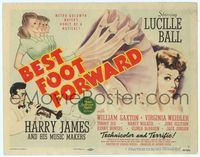 6f074 BEST FOOT FORWARD TC '43 great art of gorgeous Lucille Ball & Harry James playing trumpet!