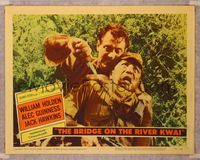 6f342 BRIDGE ON THE RIVER KWAI LC #3 '58 William Holden killing Japanese guard, David Lean classic!