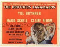 6f087 BROTHERS KARAMAZOV TC '58 huge headshot of Yul Brynner, sexy Maria Schell & Claire Bloom!