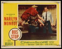 6f348 BUS STOP LC #6 '56 Don Murray slings Marilyn Monroe over shoulder like a sack of potatoes!