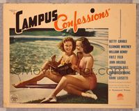 6f355 CAMPUS CONFESSIONS LC '38 close up of sexy Betty Grable in swimsuit writing in her diary!