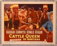 6f362 CATTLE QUEEN OF MONTANA LC #6 '54 Native American Indian about to cut rival's throat w/knife!
