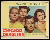 6f366 CHICAGO DEADLINE LC #4 '49 cool image of Alan Ladd, Donna Reed & bad girls, film noir!