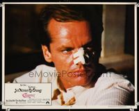 6f370 CHINATOWN LC #5 '74 best super close up of Jack Nicholson with bandaged nose, Roman Polanski