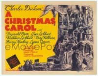 6f095 CHRISTMAS CAROL TC '38 Charles Dickens holiday classic, artwork of Scrooge in shop!