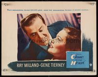 6f379 CLOSE TO MY HEART LC #1 '51 romantic close up of Ray Milland smiling at pretty Gene Tierney!