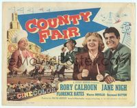 6f099 COUNTY FAIR TC '50 smiling Rory Calhoun & Jane Nigh, cool harness race image!