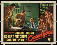 6f384 CROSSFIRE LC #2 '47 3-shot close up of Robert Young, Robert Mitchum & Robert Ryan!