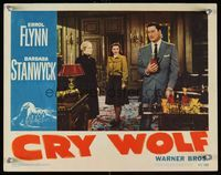 6f385 CRY WOLF LC #7 '47 Barbara Stanwyck looks at Errol Flynn pouring drinks!