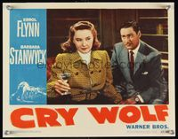 6f386 CRY WOLF LC #8 '47 close up of sad looking Errol Flynn & Barbara Stanwyck!