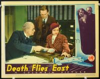 6f393 DEATH FLIES EAST LC '35 Raymond Walburn shows Conrad Nagel & Florence Rice a paper!