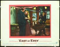 6f055 EAST OF EDEN LC#6 '55 James Dean watches happy Raymond Massey & Julie Harris at party!