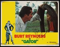 6f018 GATOR signed LC #1 '76 by Burt Reynolds, who's close up w/Stephanie Burchfield in tire swing!