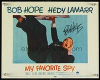 6f028 MY FAVORITE SPY signed LC #1 '51 by Bob Hope, who is super close up dangling from a ladder!