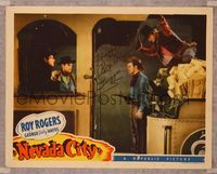 6f003 NEVADA CITY signed LC '41 by Roy Rogers, who is about to be bushwhacked by train robbers!