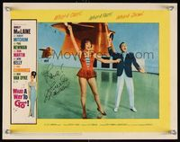 6f041 WHAT A WAY TO GO signed LC #3 '64 by Shirley MacLaine, who's in skimpy outfit w/Gene Kelly!