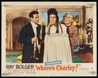 6f042 WHERE'S CHARLEY signed LC #4 '52 by Ray Bolger, who's in drag, trying on dress & wig!