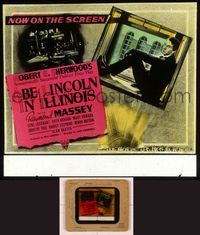 6h061 ABE LINCOLN IN ILLINOIS glass slide '40 different image of Raymond Massey sitting in window!