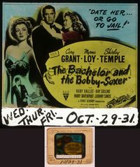 6h062 BACHELOR & THE BOBBY-SOXER glass slide '47 Cary Grant dates Shirley Temple & sexy Myrna Loy!