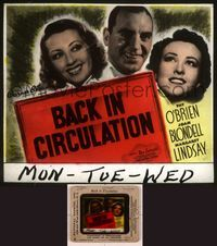 6h063 BACK IN CIRCULATION glass slide '37 Joan Blondell, Pat O'Brien, Margaret Lindsay