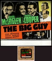 6h064 BIG GUY glass slide '39 Victor McLaglen, Jackie Cooper, Ona Munson + five more!