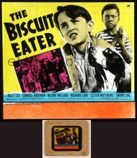 6h065 BISCUIT EATER  glass slide '40 Billy Lee & Cordell Hickman with cute dog!