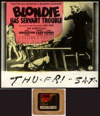 6h066 BLONDIE HAS SERVANT TROUBLE glass slide '40 Penny Singleton, Arthur Lake as Dagwood