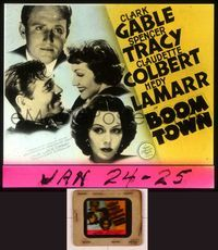 6h068 BOOM TOWN glass slide '40 Clark Gable, Spencer Tracy, Claudette Colbert, Hedy Lamarr