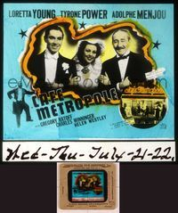 6h071 CAFE METROPOLE glass slide '37 Loretta Young, Tyrone Power & Adolphe Menjou arm-in-arm!