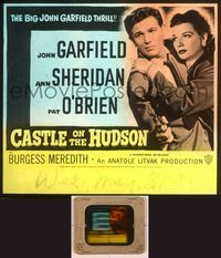 6h072 CASTLE ON THE HUDSON glass slide '40 close up of Ann Sheridan holding John Garfield with gun!